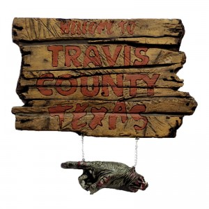 texas chainsaw travis county sign for halloween